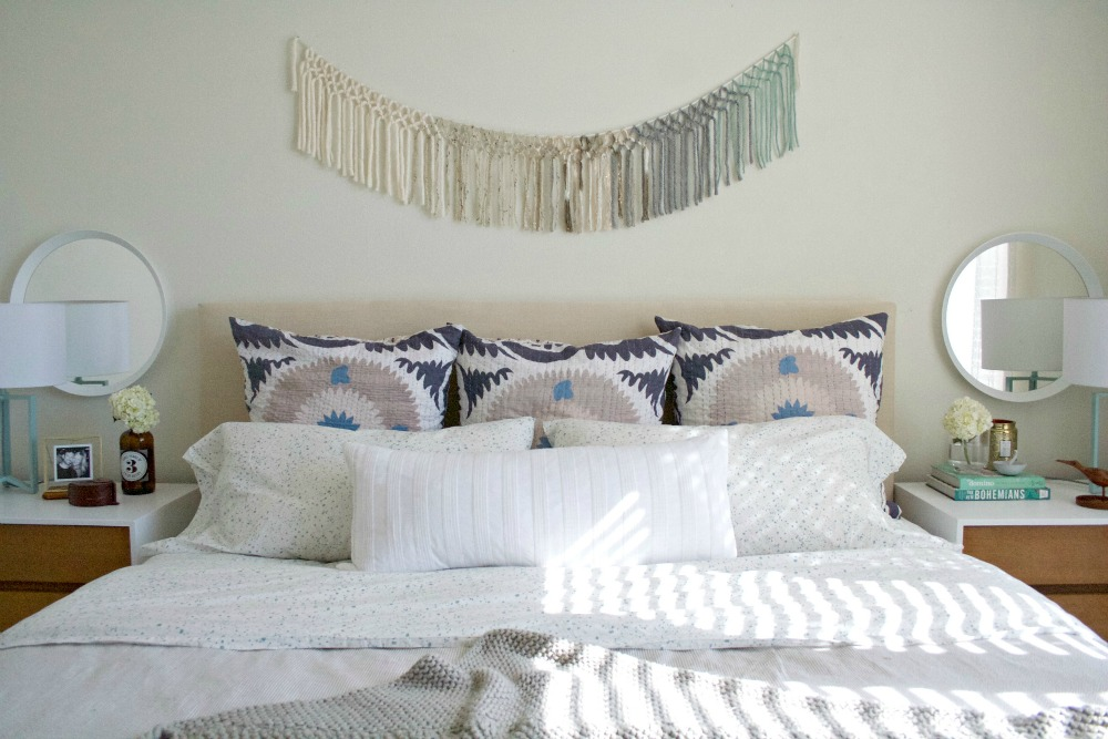 Headboard makeover to fit in with a light, calm bedroom makeover - by Awfully Big Adventure