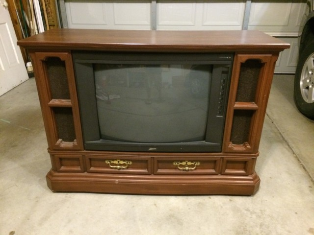 (Before) Freebie Tube TV Makeover to Puppy Palace - by Restoration Redoux