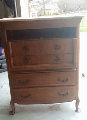 (Before) Two-Tone French Provincial Dresser Makeover - by The Tattered Rabbit