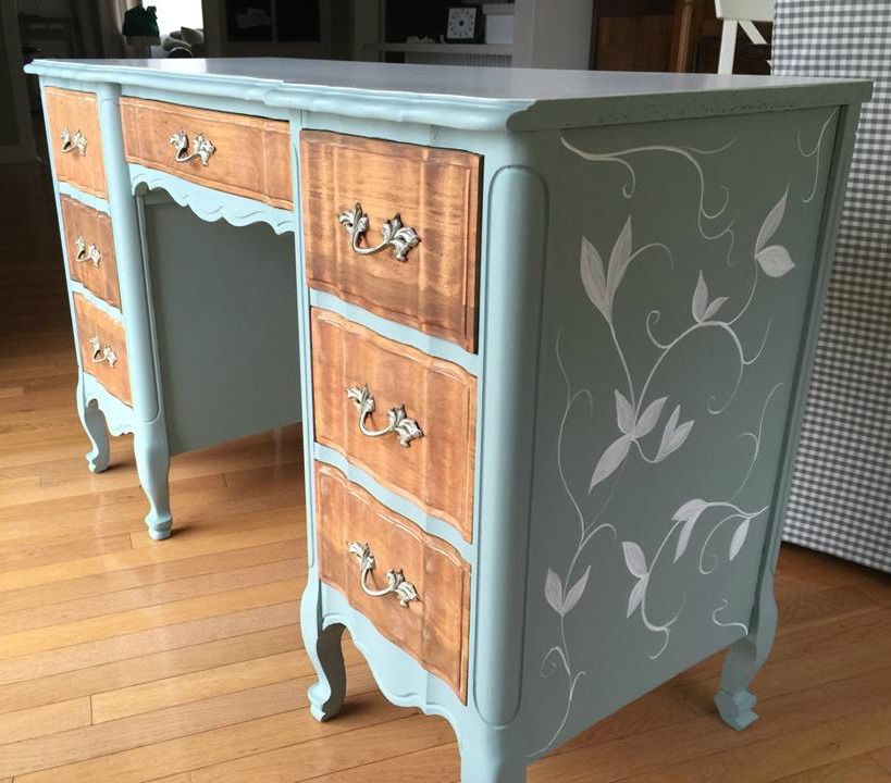 French Provincial Desk Makeover - by Wild Sparrow Designs