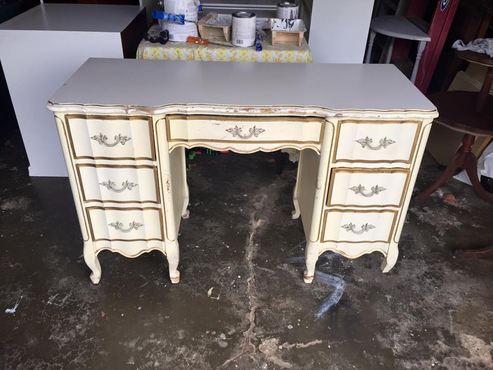 (Before) French Provincial Desk Makeover - by Wild Sparrow Designs