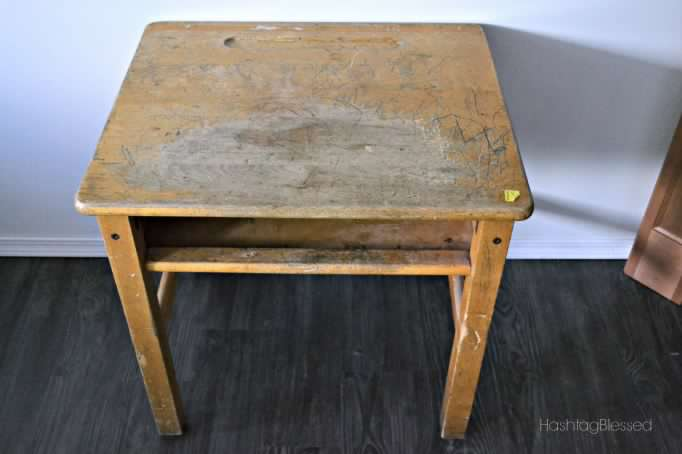 (Before) Vintage School Desk Makeover - by HashtagBlessed