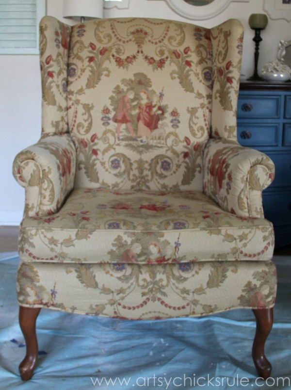 (Before) Painted Upholstered Chair Makeover - by Artsy Chicks Rule