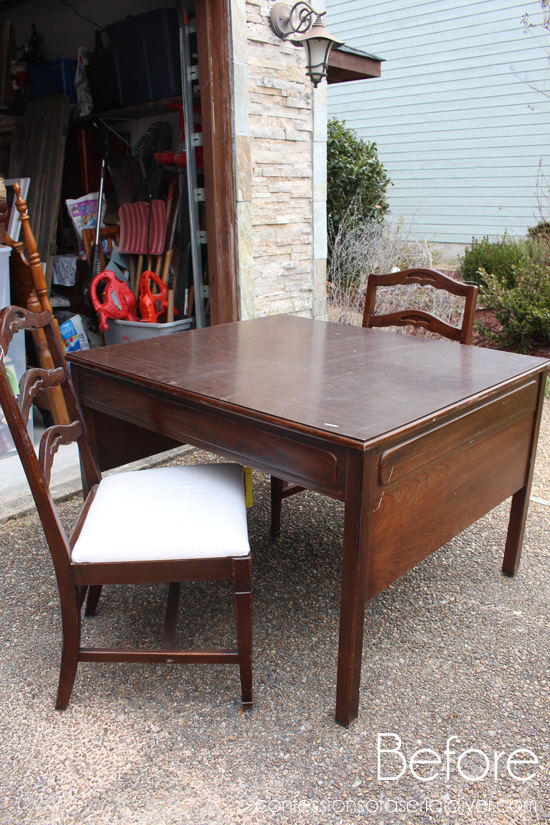 (Before) Vintage dining set makeover with stripes and Paris graphic - by Confessions of a Serial DIYer