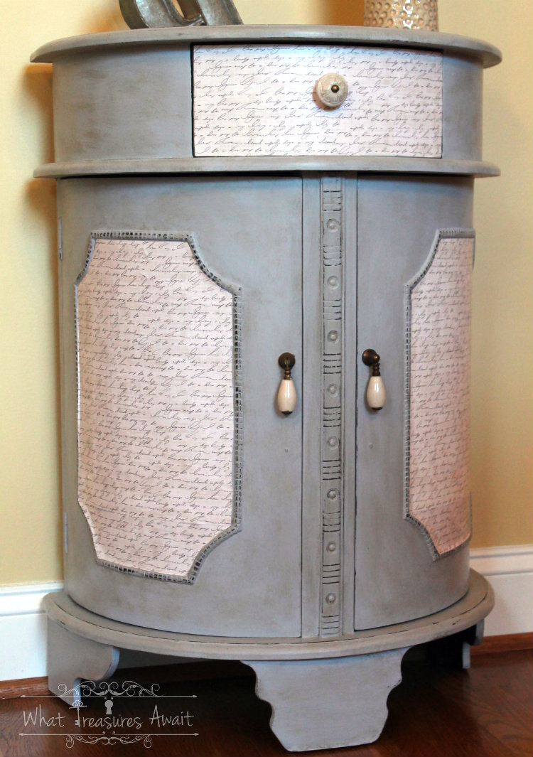 Don't Discard, Decoupage - Table makeover by What Treasures Await