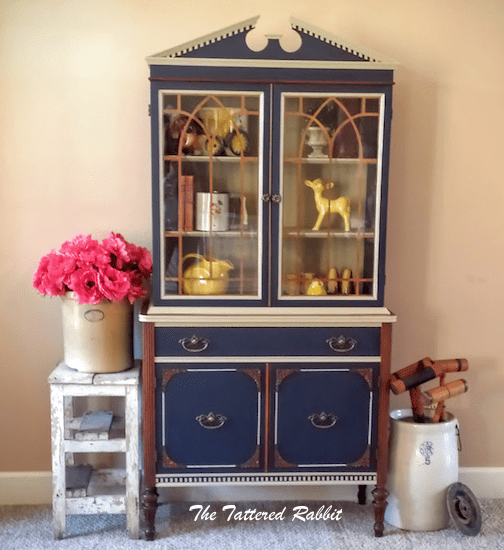 Antique china cabinet makeover - by The Tattered Rabbit