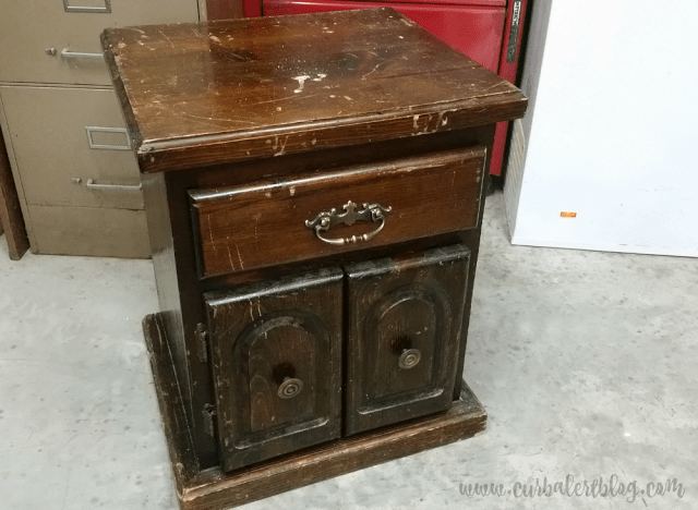 (Before) Thrifted old end table becomes a DIY play kitchen for kids - by Curb Alert blog