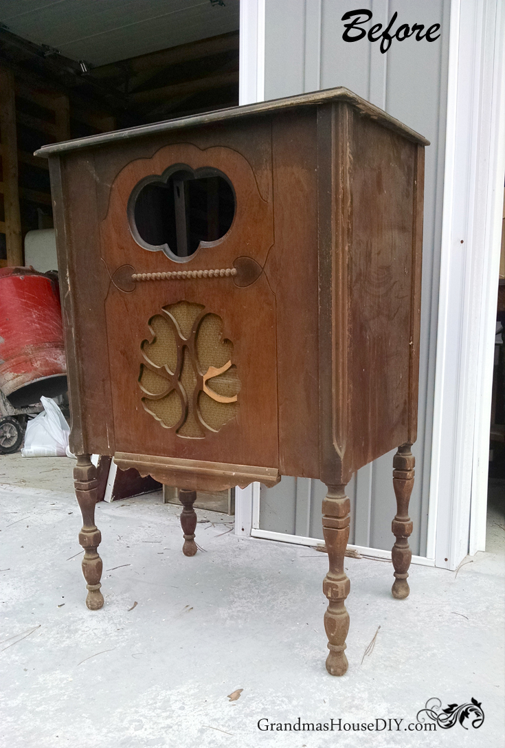 (Before) Antique Radio Cabinet to DIY Kitchen Island - by Grandma's House DIY