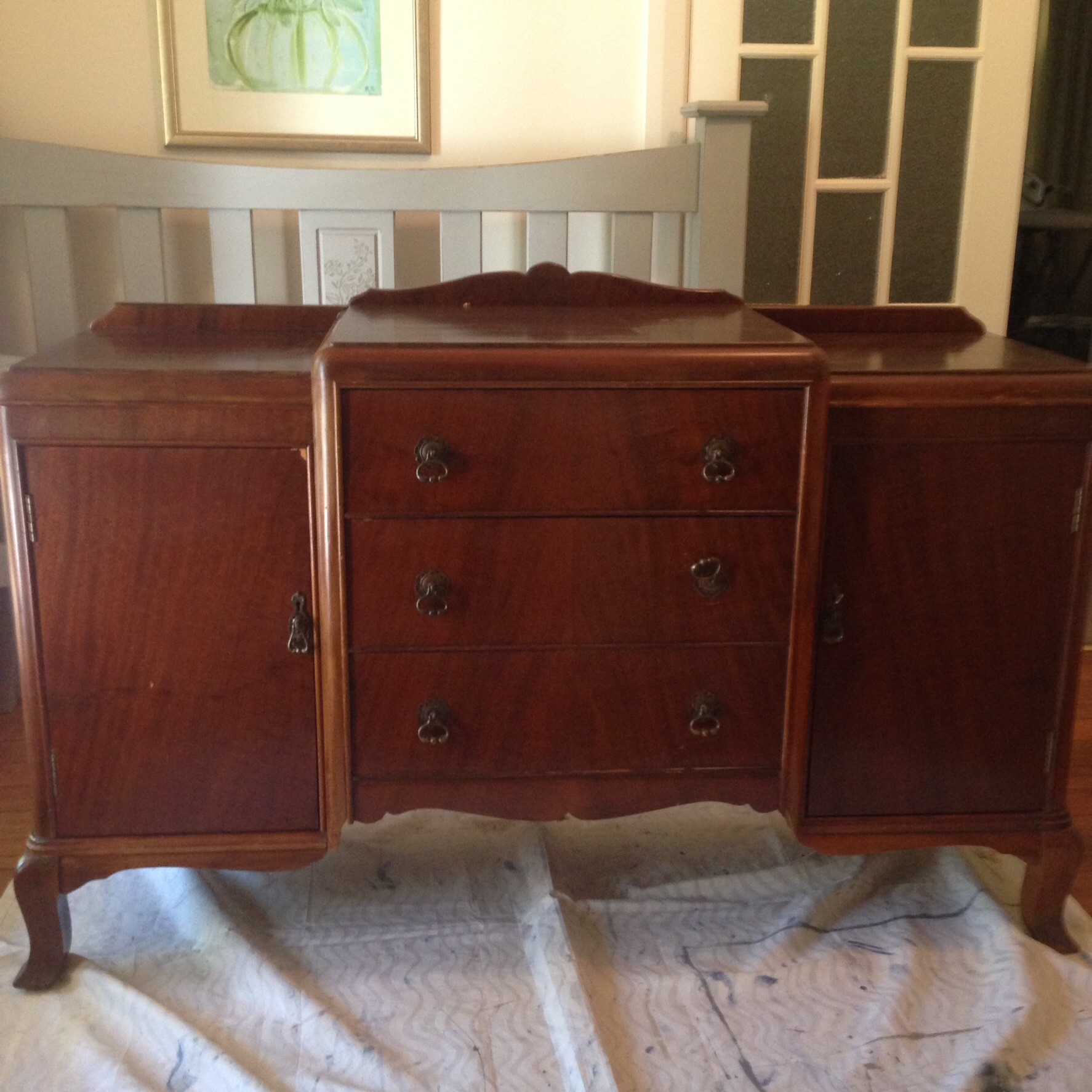 (Before) Vintage Sideboard Makeover in Graphite - by Rusty Blue Refashioned Furniture