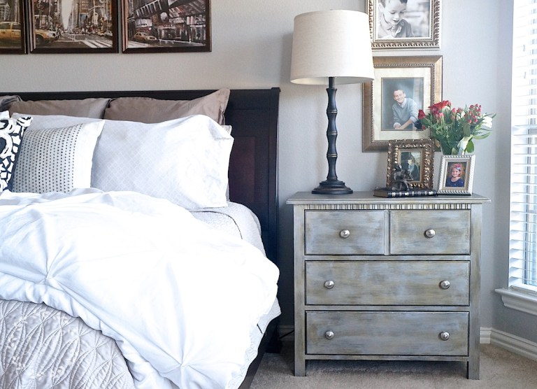 Metallic Nightstand Makeover by Lost & Found Decor