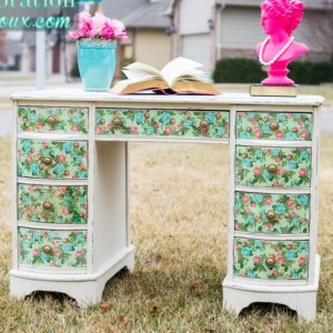 Formal to Floral Decoupage Desk