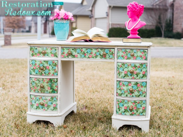 Formal to Floral Decoupage Desk Makeover - by Restoration Redoux