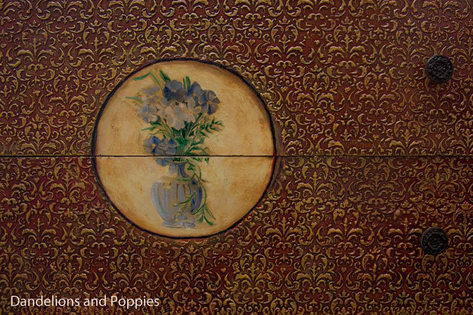 Adding Texture and Art to a Vintage Dresser - by Dandelions and Poppies