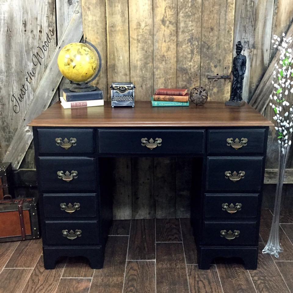 Masculine Desk Makeover - by Just the Woods