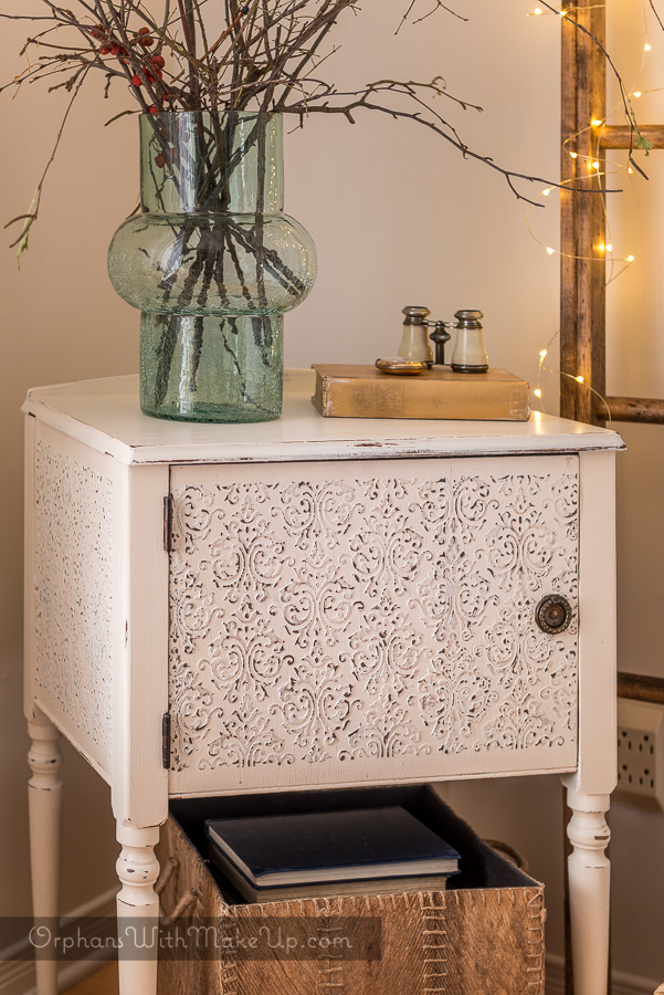 Faux Tin Tiled Sewing Cabinet Makeover by Orphans with Makeup - DIY Furniture Makeovers