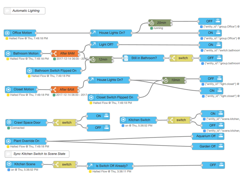 Basic Node-Red Flows for Automating Lighting with Home