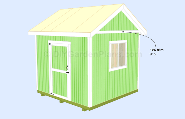 Cut and install the 1×4 9′ 5″ trim to the sides where the siding ...