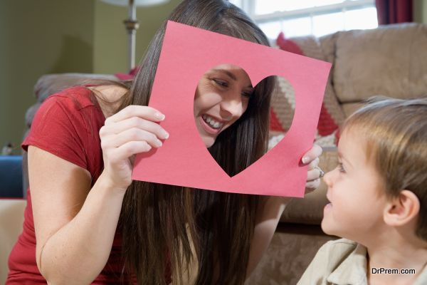 Mother and son with Valentine's Day heart