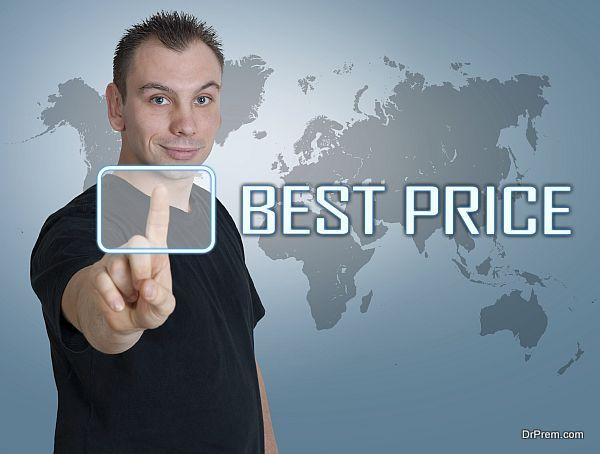 Young man press digital Best Price button on interface in front of him