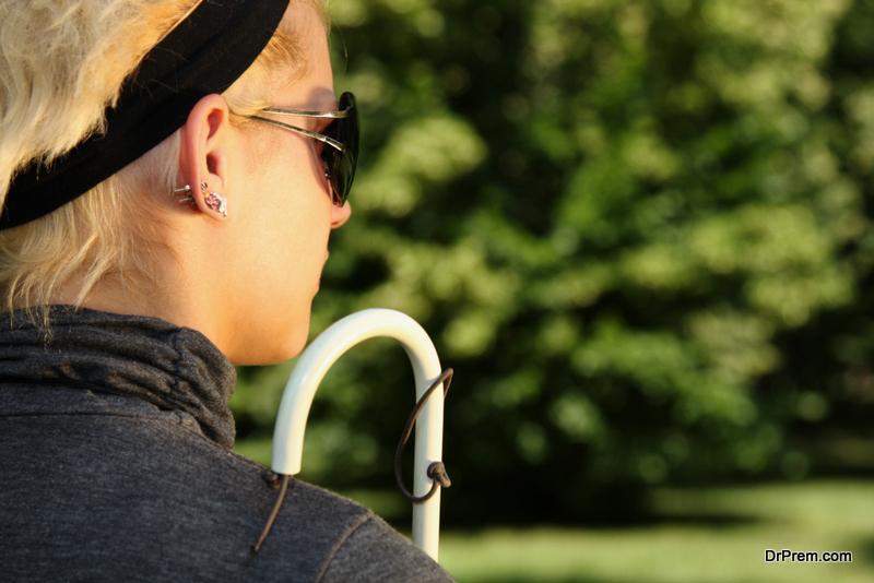 blind woman enjoy the sunshine