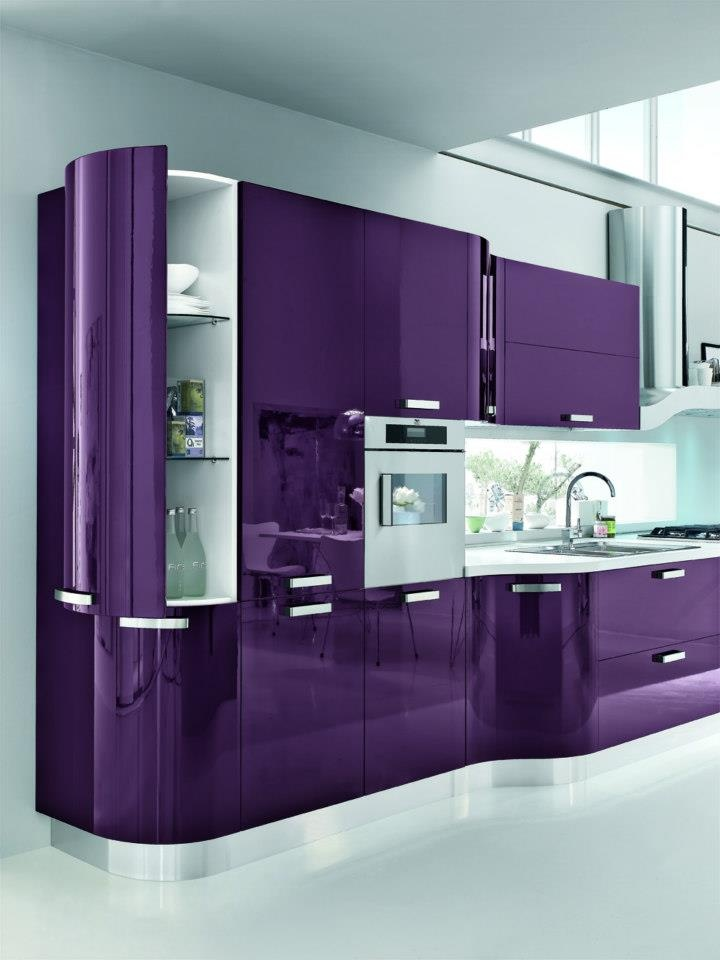 Purple kitchen ideas for unique and modern look diy home art for What kind of paint to use on kitchen cabinets for pop art wall decals