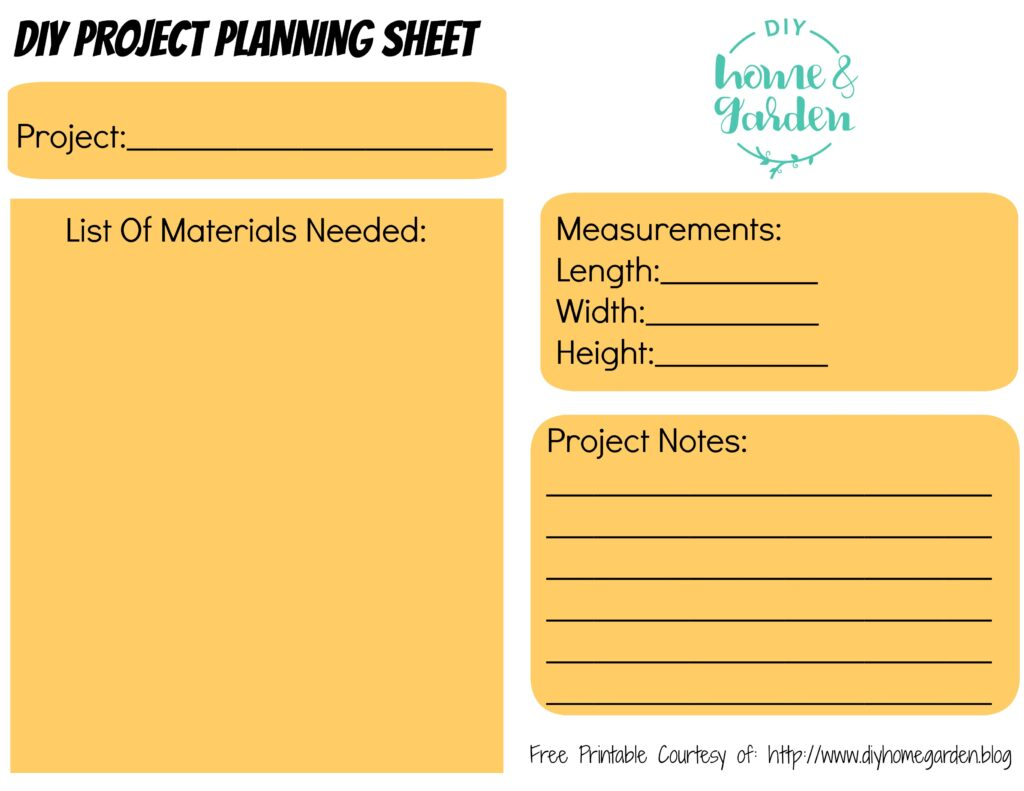 graphic about Free Printable Project Planner called No cost Printable: Do-it-yourself Challenge Building Sheet absolutely free down load