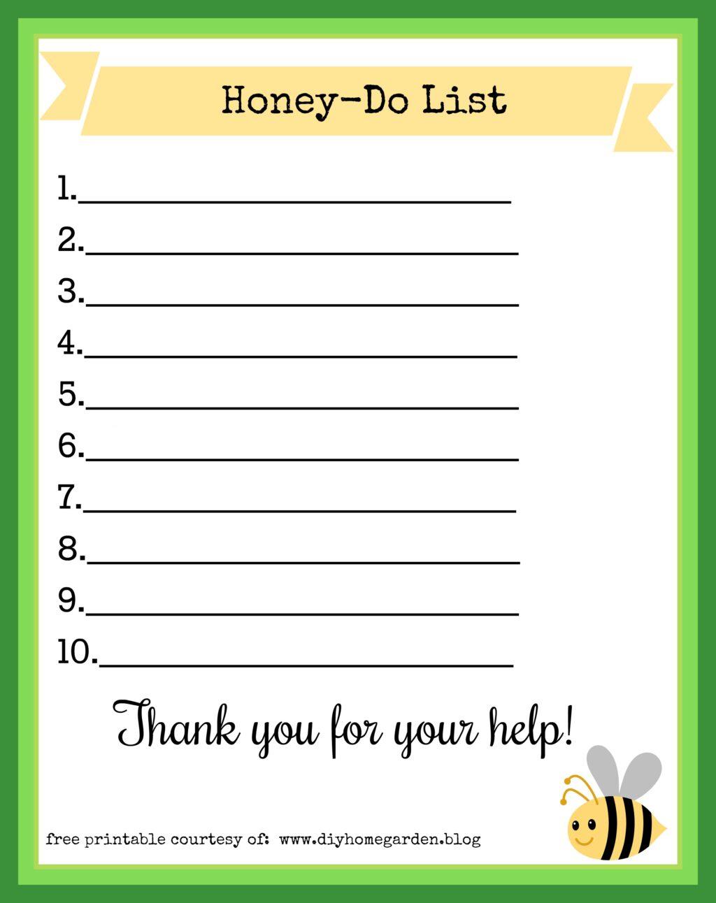 free printable honey-do list