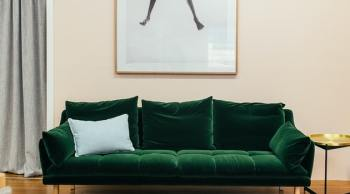 green couch in a home