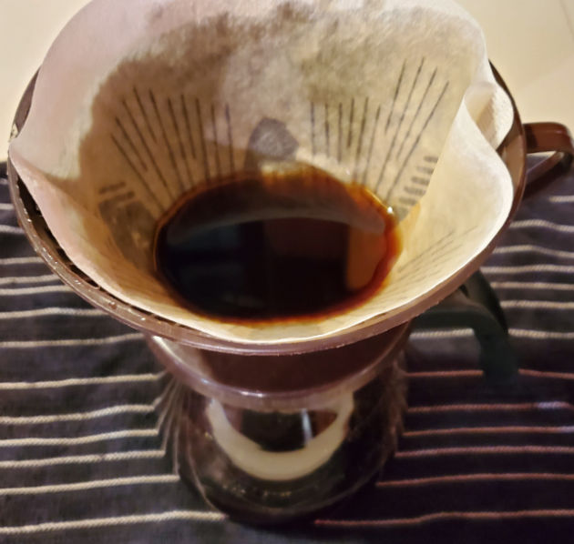 strain liquid with melitta