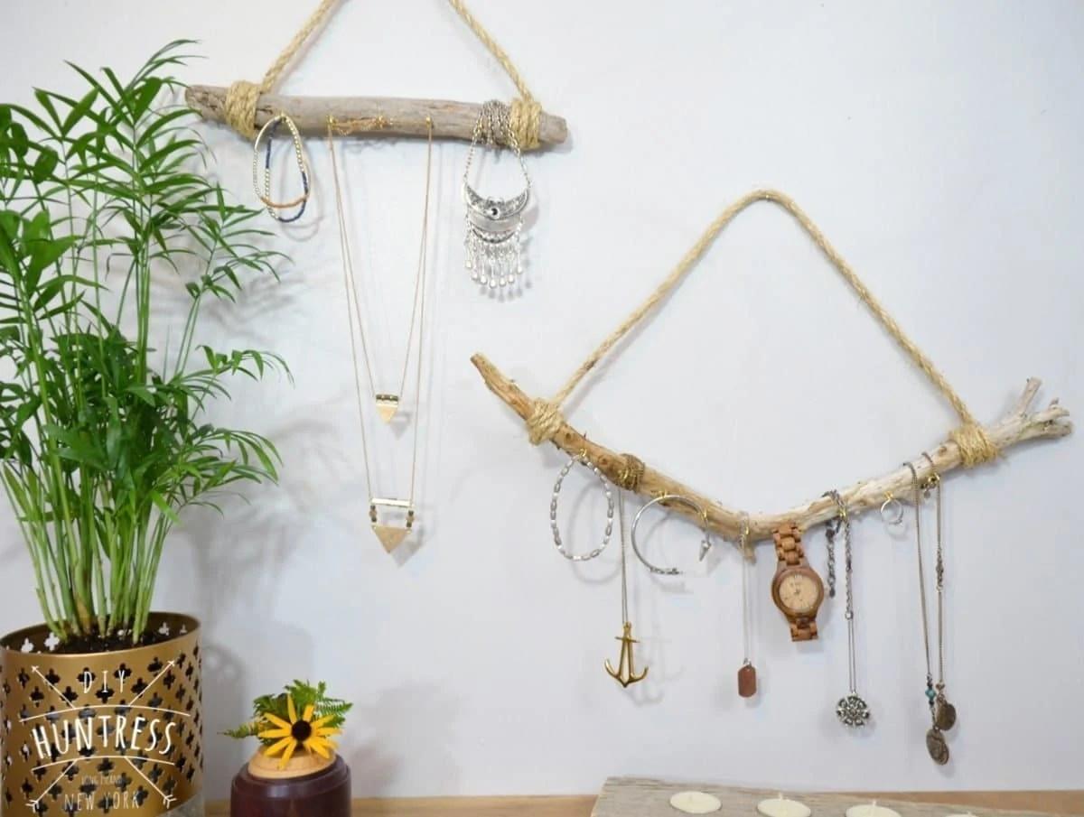 diy driftwood necklace holder diy