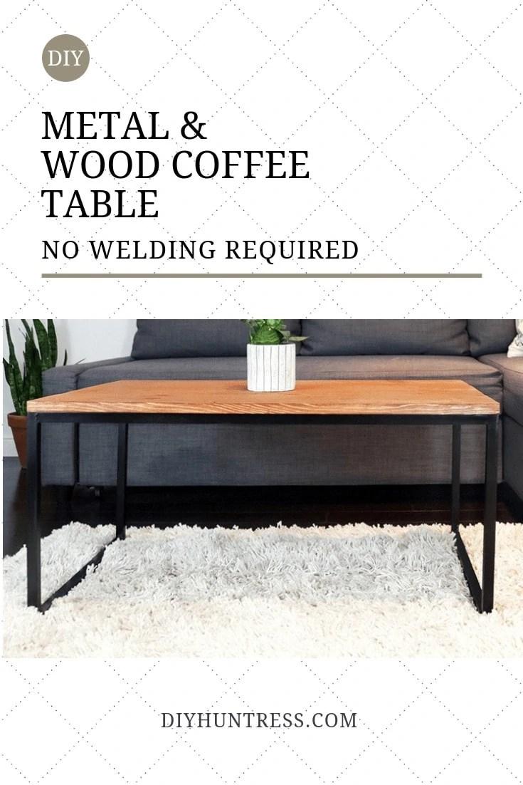 diy metal wood coffee table no