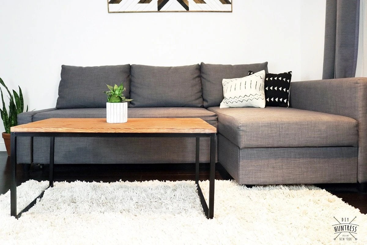no coffee table living room colors with grey walls diy metal wood welding huntress how to make a base