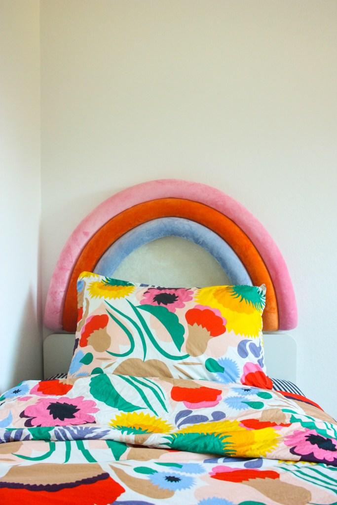 DIY Upholstered Rainbow Headboard