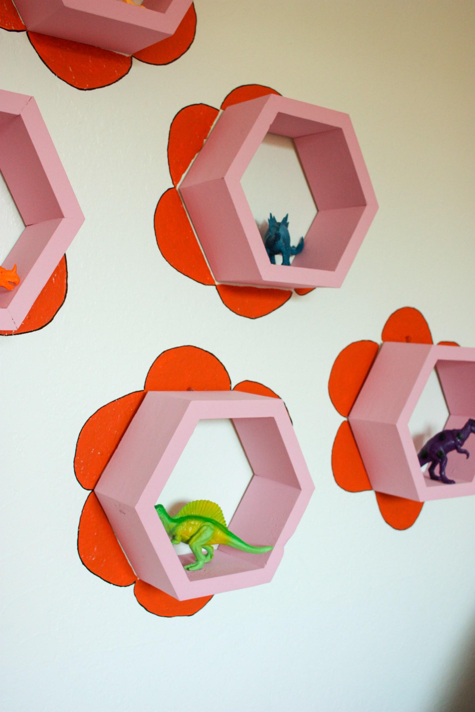 DIY Hexagon Flower Wall Shelves