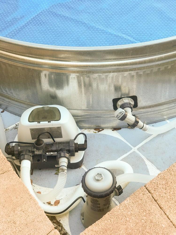 DIY salt water stock tank pool idea