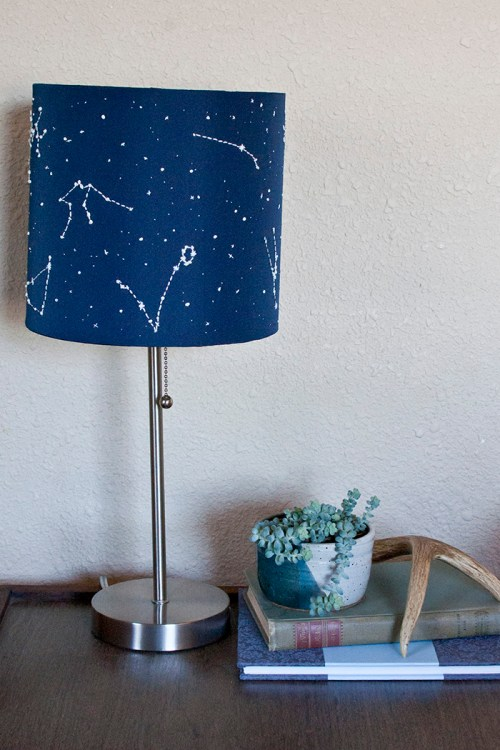Use glow-in-the-dark thread to embroider stars and constellations on a lamp shade. DIY instructions includes printable diagrams.