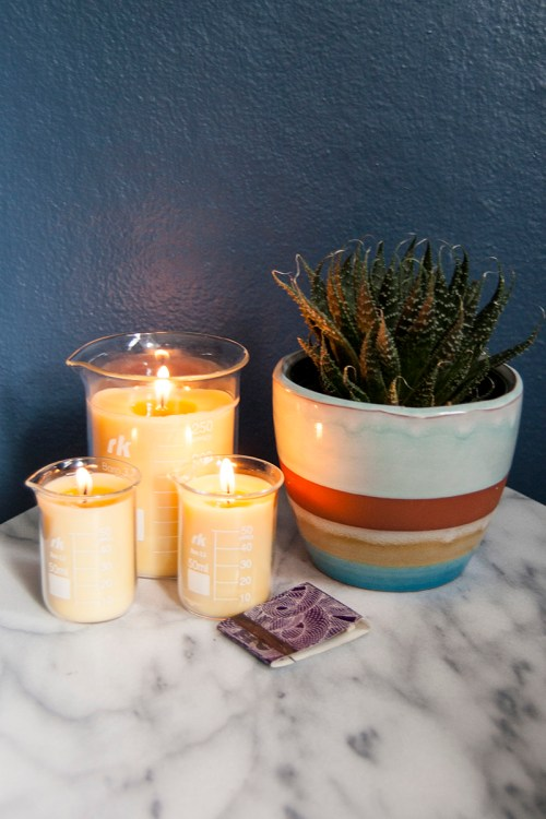DIY beeswax beaker candles
