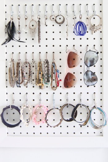 DIY pegboard jewelry storage