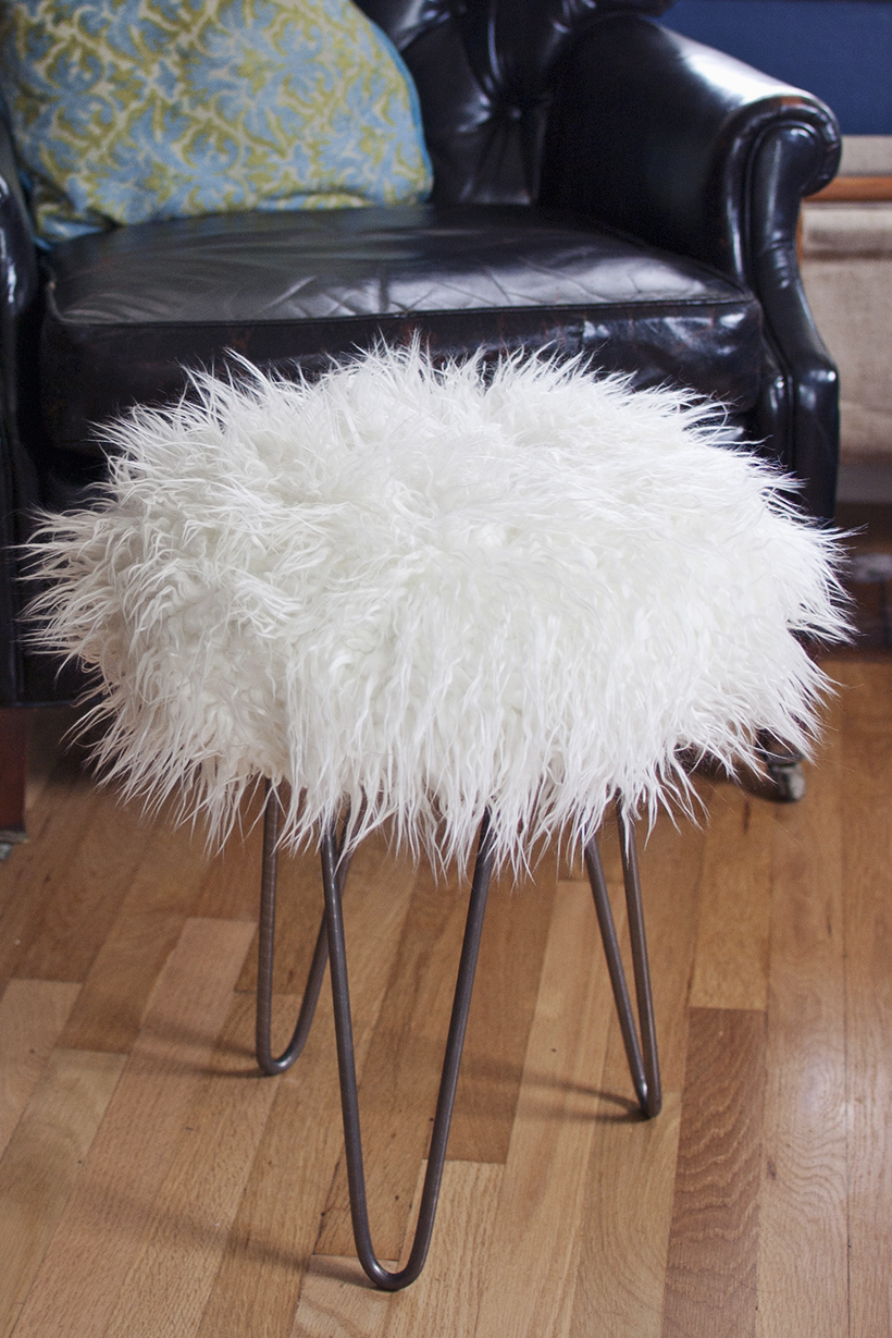 Make a Faux Fur Stool with Hairpin Legs  DIY in PDX