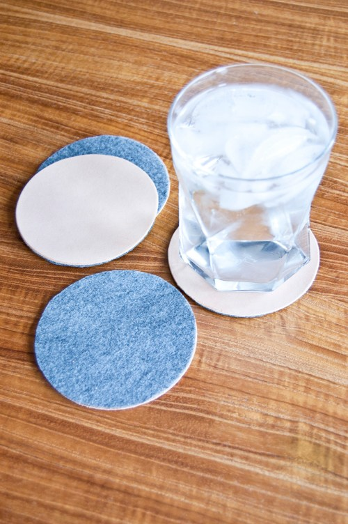 DIY reversible wool and leather coasters