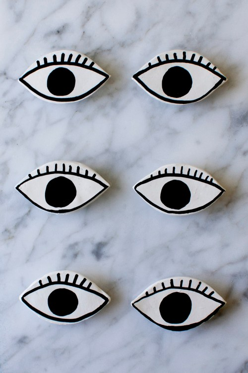 DIY clay eye magnets