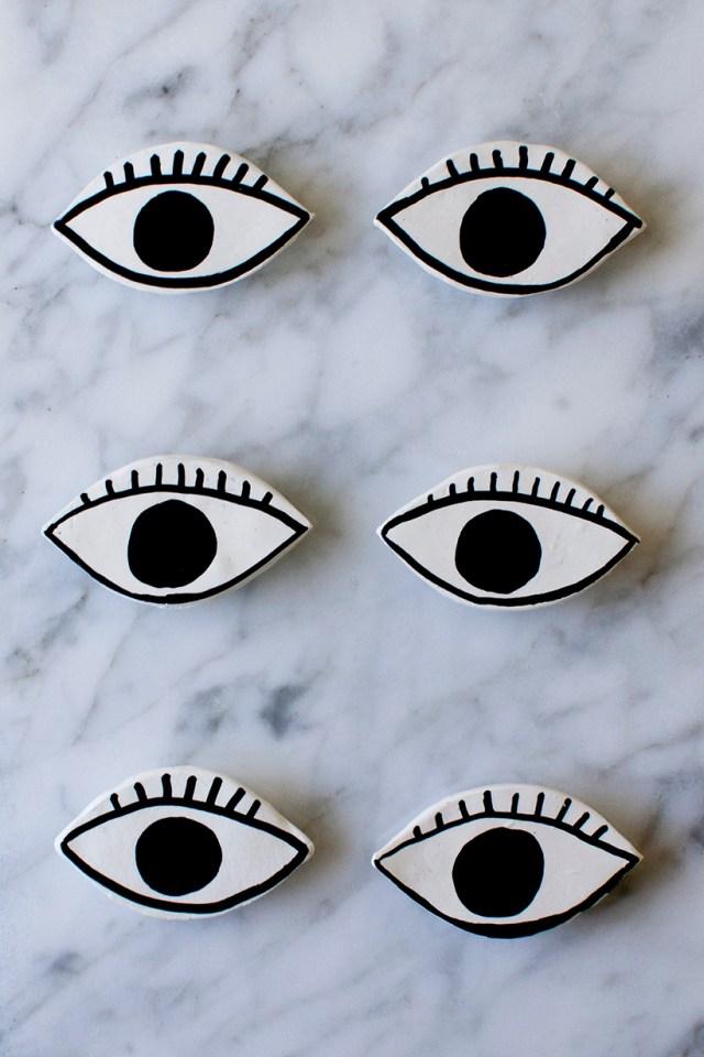 DIY clay eye magnets