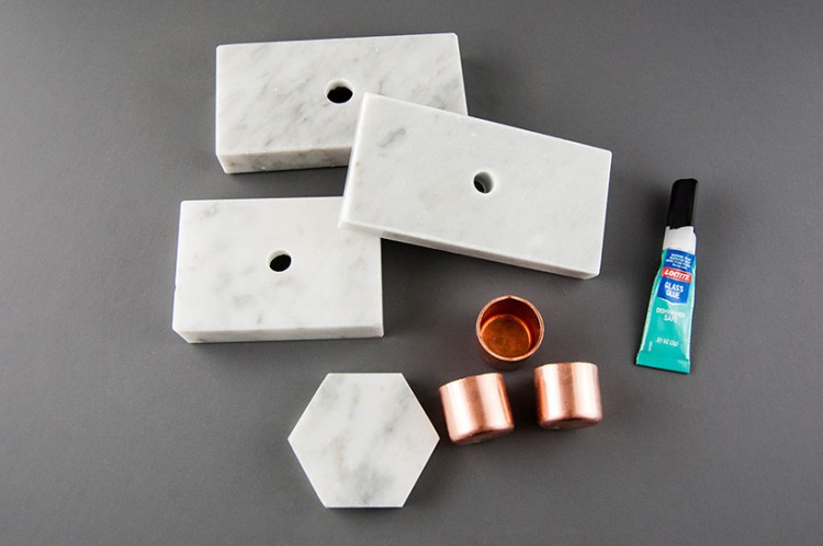 Make easy DIY marble and copper candleholders