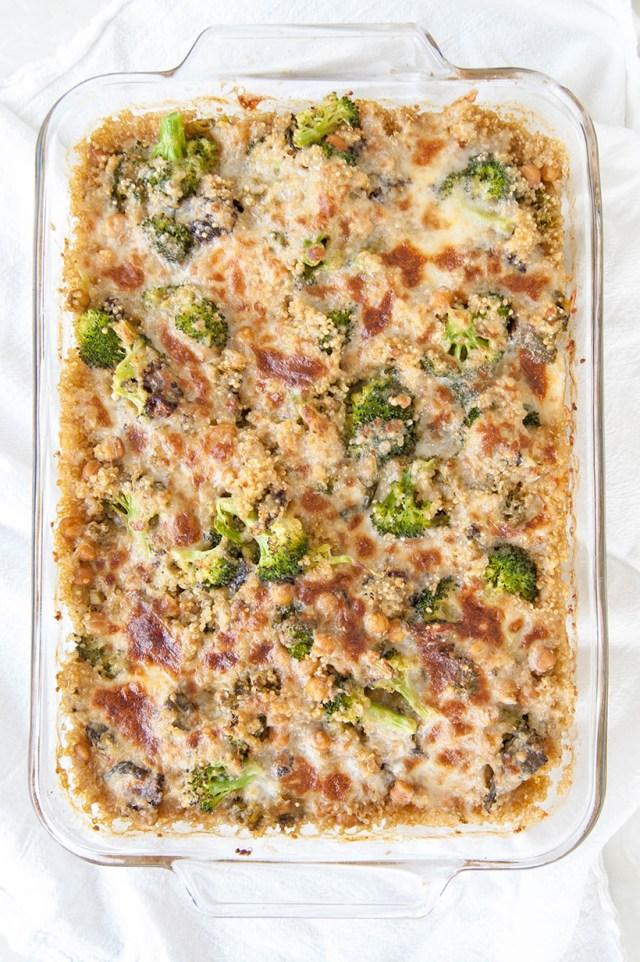 Cheesy Broccoli Kale Quinoa Casserole Recipe