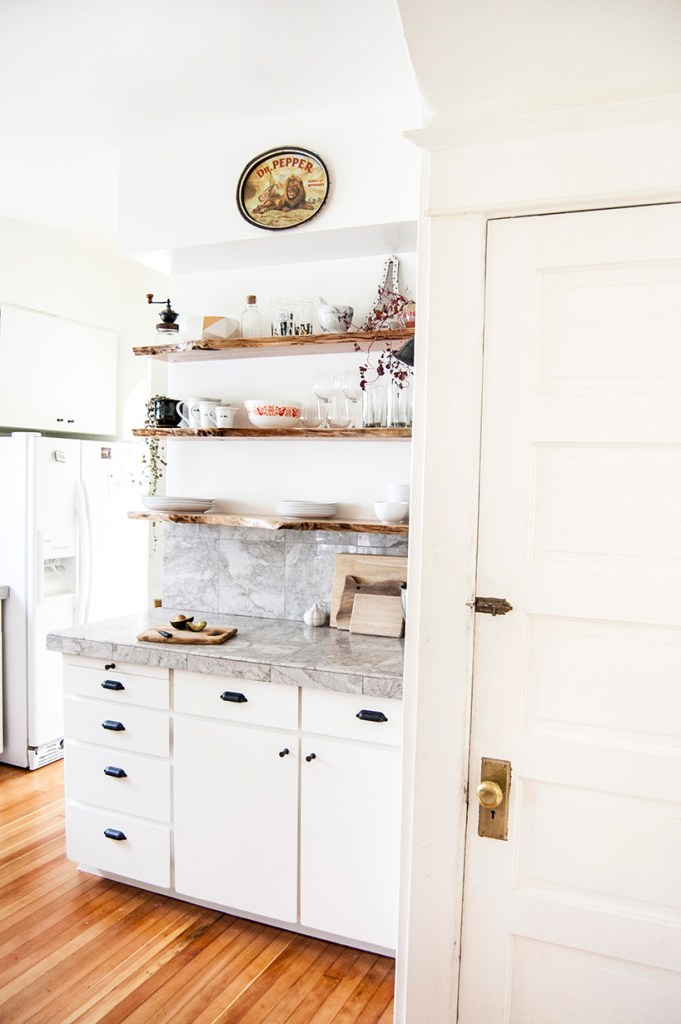 kitchen makeover: painted cabinets and open shelves