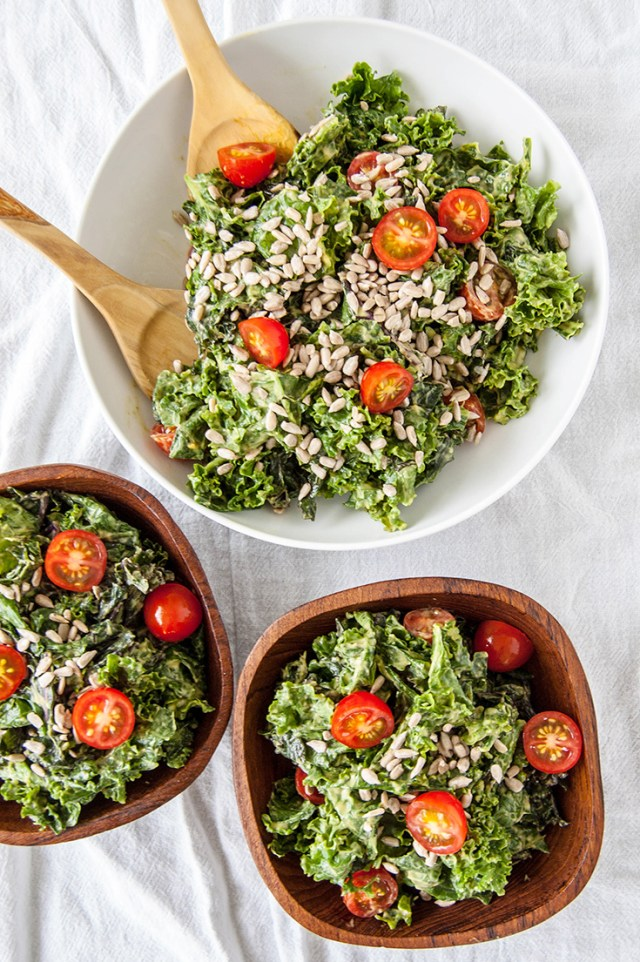 Kale Salad with Avocado Chipotle Dressing