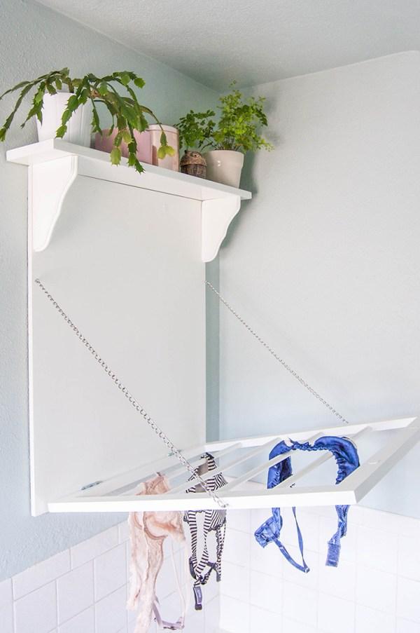 Make a DIY Laundry Rack + Shelf