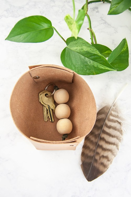 DIY Leather Catchall Organizer Bin