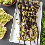 Roasted Carrots with Carrot Top and Garlic Scape Pesto