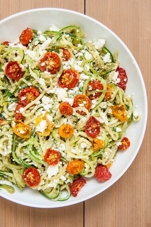 Roasted Tomato Pesto Zucchini Noodles - This plant-based, vegetarian dish is a healthy, fresh substitute for pasta.